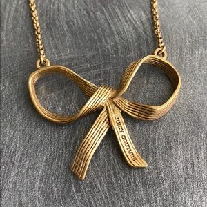 Juicy Couture Ribbon Bow Gold tone Necklace